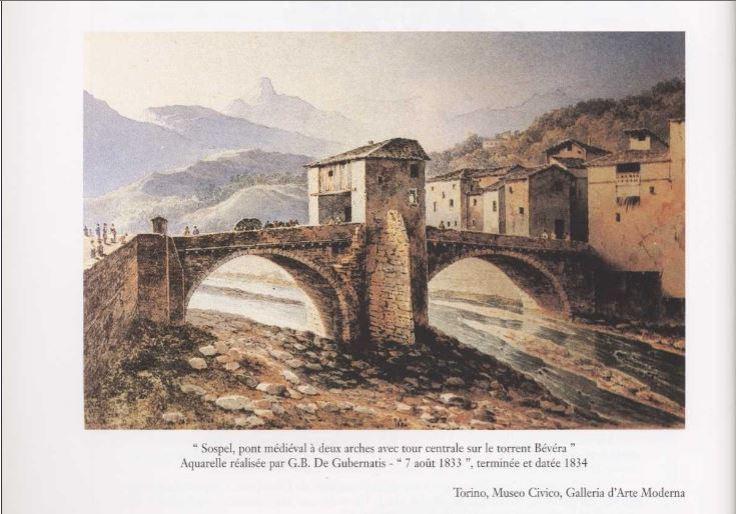 Sospel gravure 1833 Aquarelle